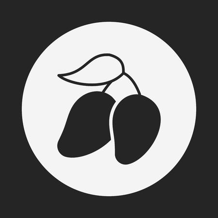 mango slice: fruits mango icon Illustration
