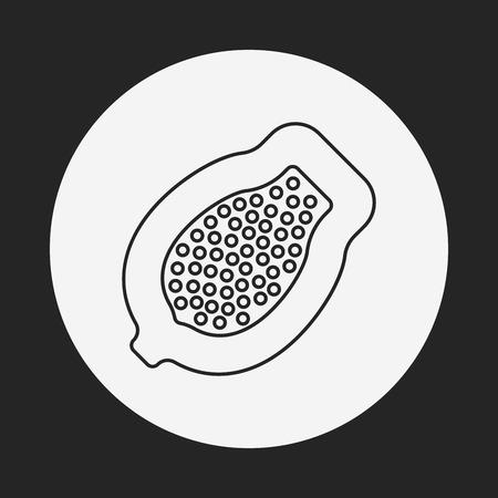 papaya: fruits papaya line icon