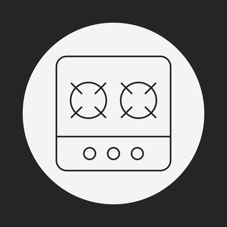 gas cooker: gas stove line icon