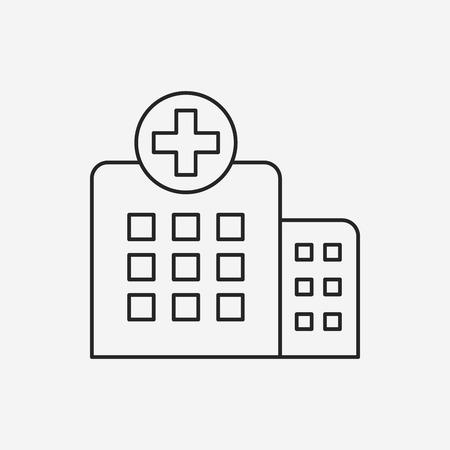 hospital line icon 向量圖像