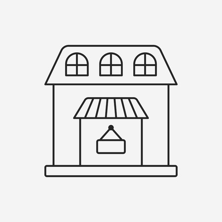 mall signs: shop store line icon