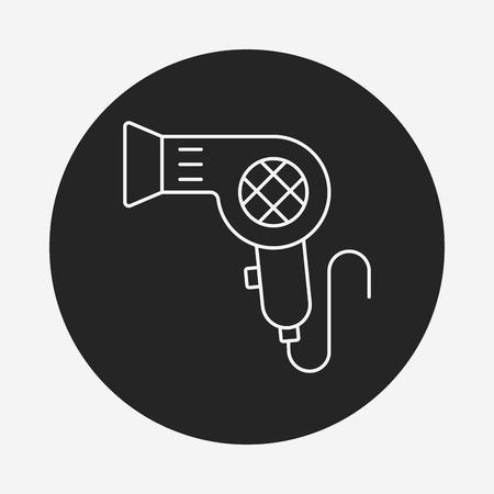 dryer: hair dryer line icon Illustration