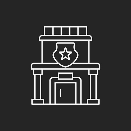 precinct station: police station line icon
