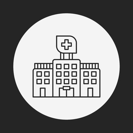 hospitalization: hospital line icon Illustration