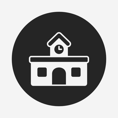 school building: school building icon Illustration