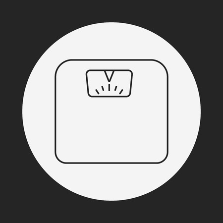 counterbalance: Weighing machine line icon Illustration
