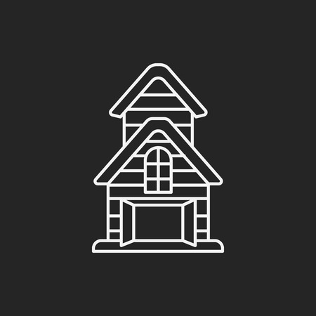 farmhouse: barn line icon Illustration