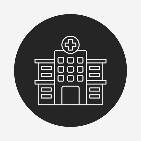 hospitalization: hospital line icon Illustration