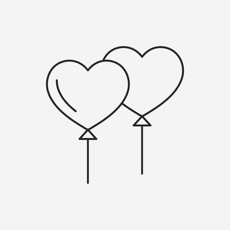 heart balloon: heart balloon line icon Illustration
