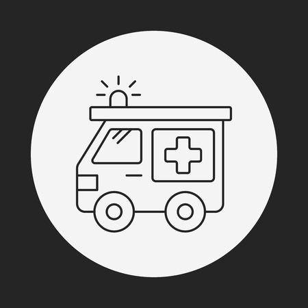 emt: ambulance line icon Illustration