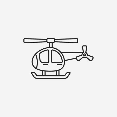 helicopter rescue: helicopter line icon