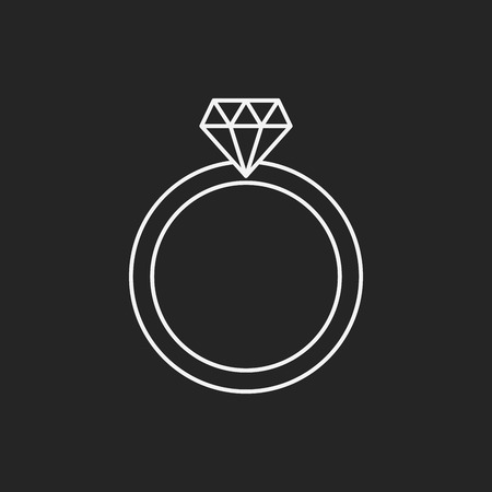 diamante negro: icono de l�nea anillo de diamantes Vectores