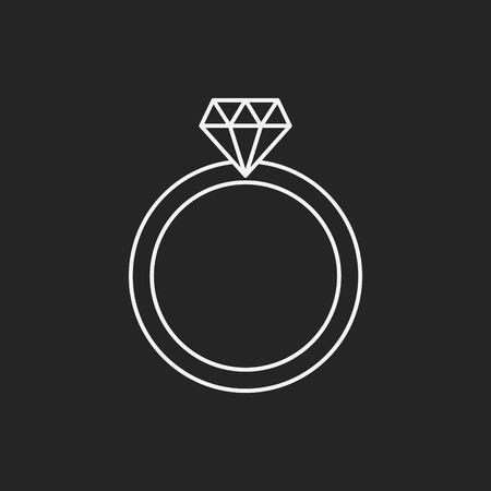 anillos de boda: icono de línea anillo de diamantes Vectores