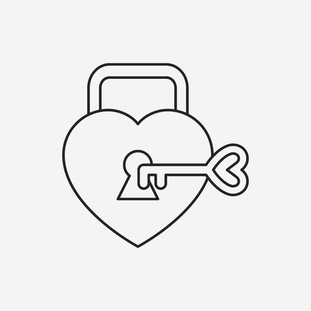 lover lock line icon Ilustrace