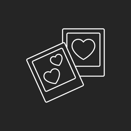 black and white frame: love photo line icon