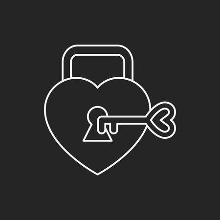 lover: lover lock line icon Illustration