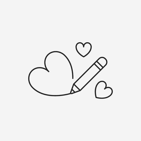 heart icon: love heart line icon