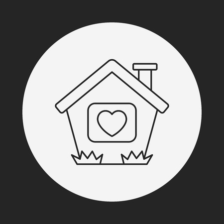 love my house: love house line icon Illustration