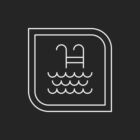no swimming sign: swimming pool sign line icon Illustration