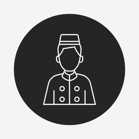 doorkeeper: hotel bellman line icon Illustration