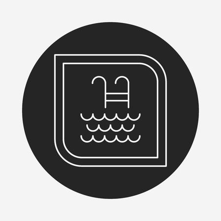 no swimming: swimming pool sign line icon Illustration