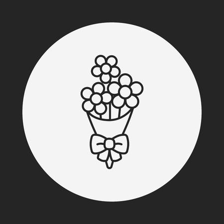 flower bouquet: flower bouquet line icon