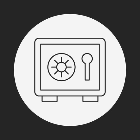 deposit: Safety Deposit Box line icon Illustration