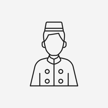 bellman: hotel bellman line icon Illustration