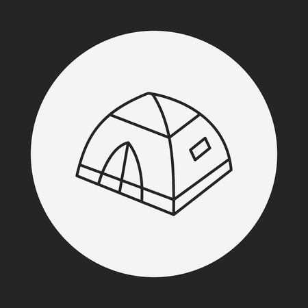 weekend activities: camping tent line icon Illustration