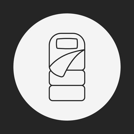 sleeping bags: Sleeping bag line icon Illustration