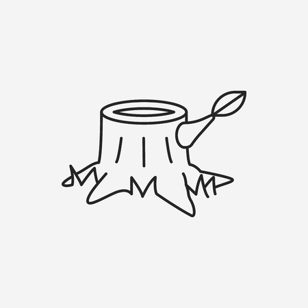 lumber: trunk line icon Illustration