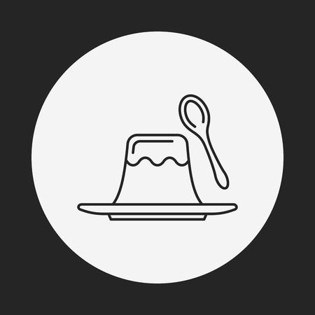 gelatin: pudding jelly line icon