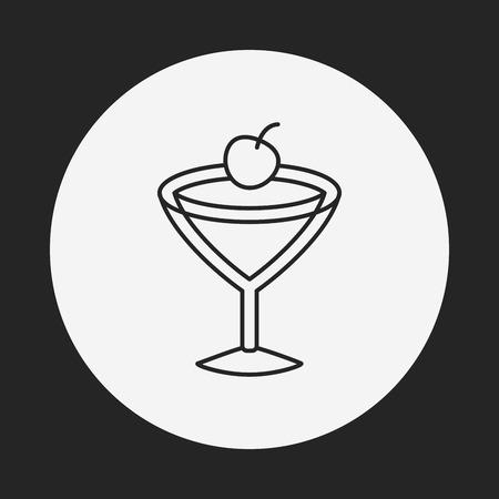 champagne cups: beverage line icon Illustration
