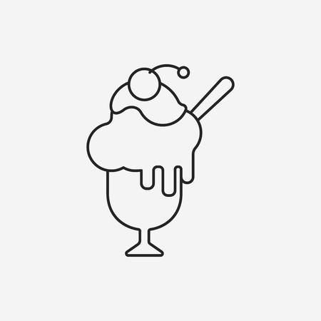postre: postre hielo icono l�nea de crema