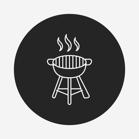 barbecue stove: BBQ oven line icon Illustration