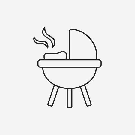 barbecue stove: BBQ oven line icon Illustration