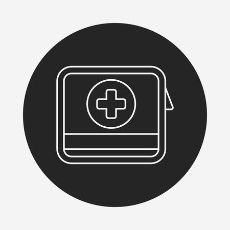 erste hilfe koffer: Erste-Hilfe-Kit line icon Illustration