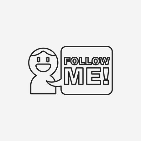 follow: follow me line icon Illustration