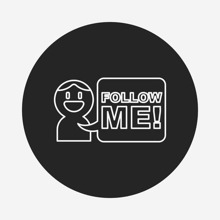 follow me: follow me line icon Illustration