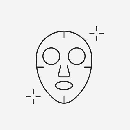 facial mask: Facial mask line icon Illustration