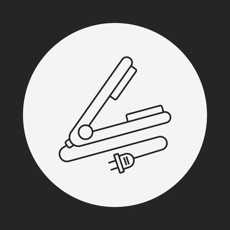 rulos: Pelo bigudíes icono de línea Vectores