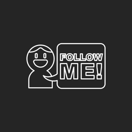 follow icon: follow me line icon Illustration