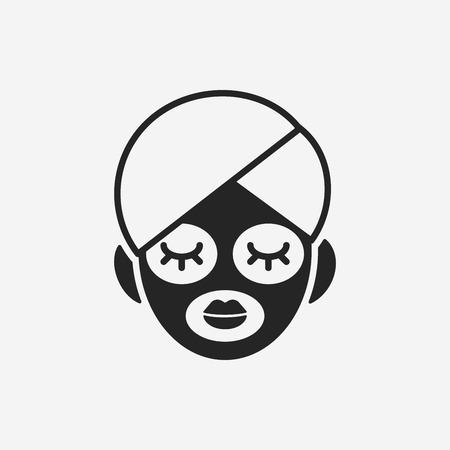 limpieza de cutis: Icono de la máscara facial Vectores