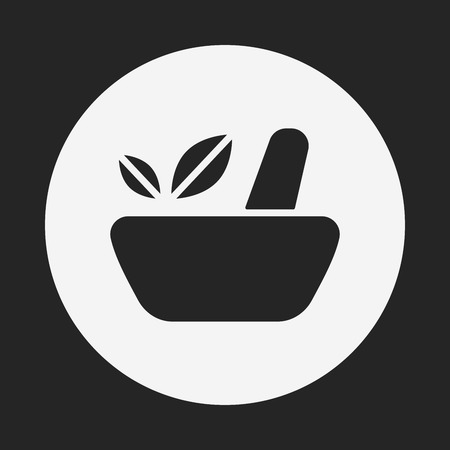 ayurveda: herbal bowl icon Illustration