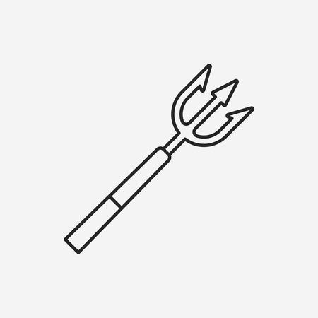 spear: Fish spear line icon Illustration