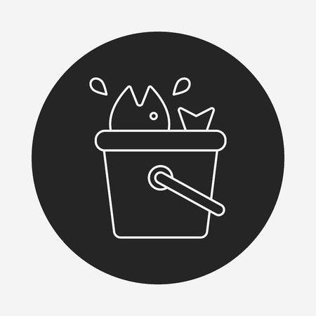bait box: fishing box line icon