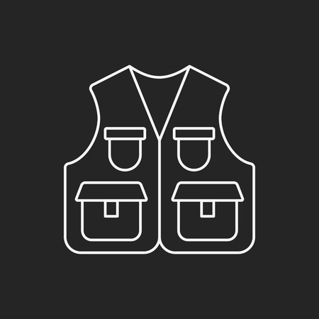 vest: Fisherman vest line icon Illustration