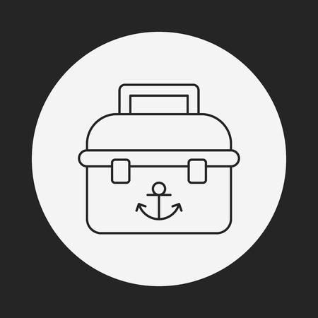 ice fishing: icono de l�nea de caja de la pesca