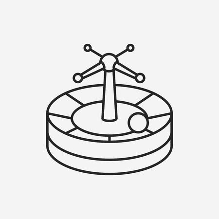 wheel of fortune: Casino Roulette line icon Illustration