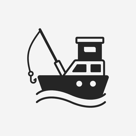 pesca: icono de barco de pesca
